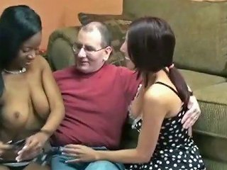 Two Hot Chicks Take Turns Sucking His Dick
