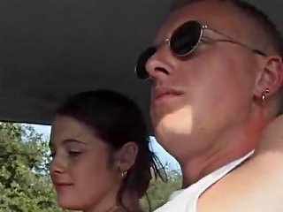 Sexy Chick Karina Sucks Her Man Outdoors Then Gets Fucked In The Car